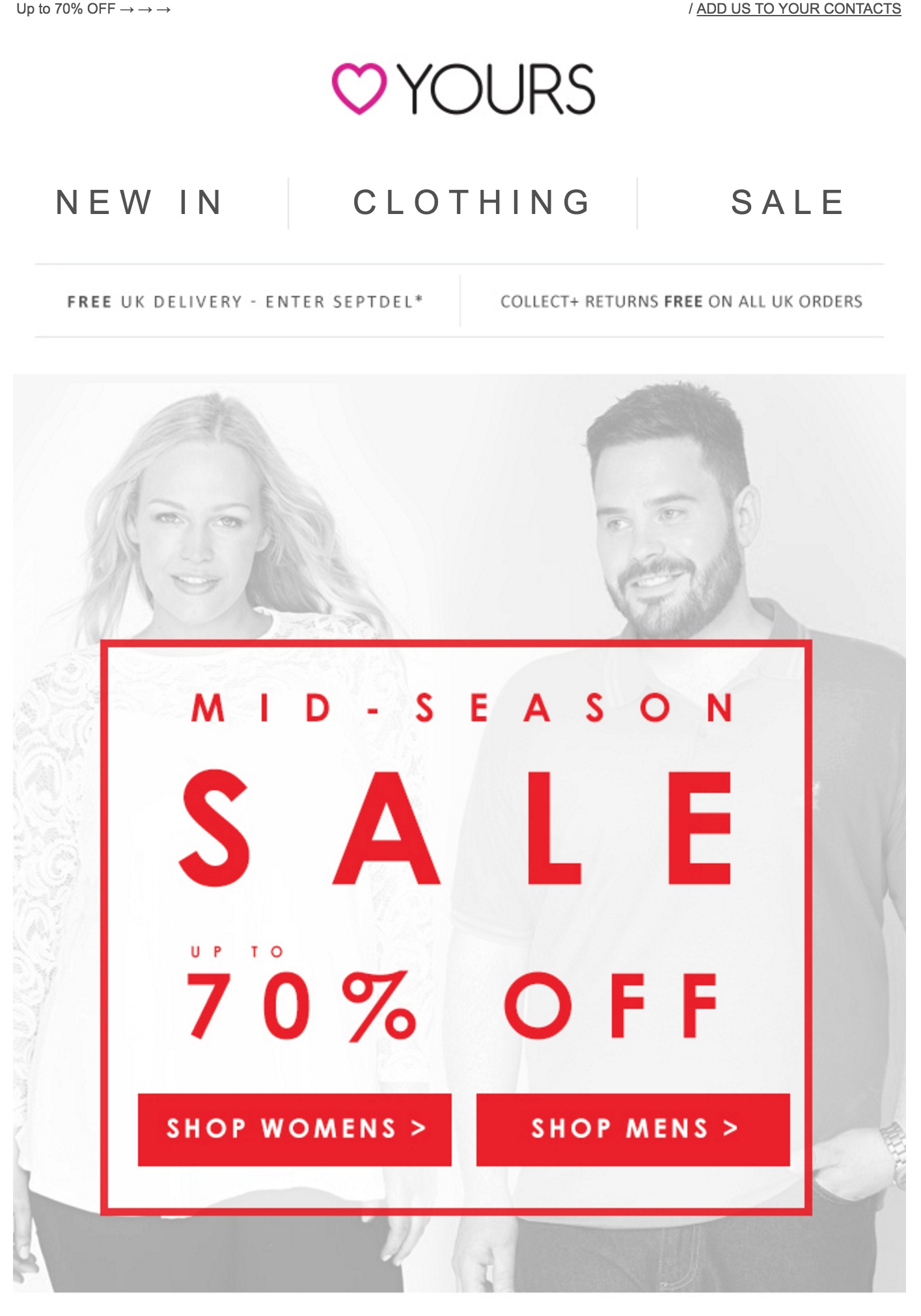 Yours clothing sale emails