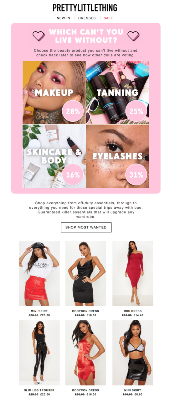 PrettyLittleThing live polling email
