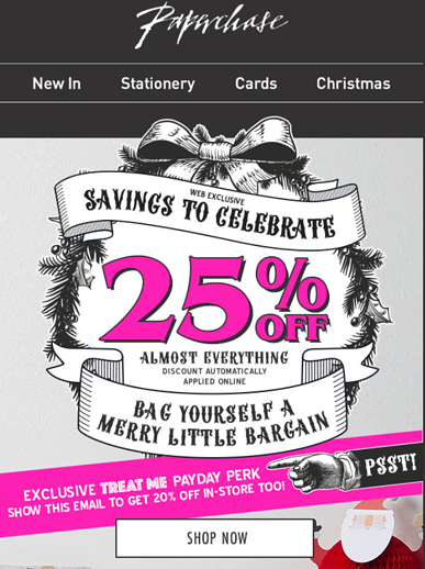 Paperchase in-store discount