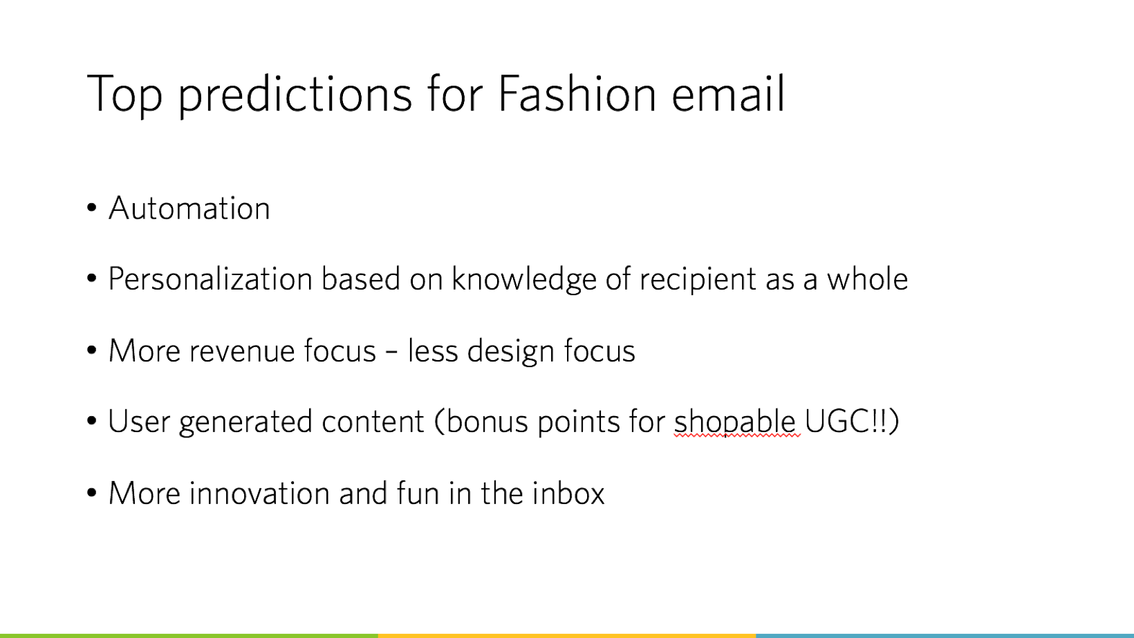 Top predictions for Fashion emails
