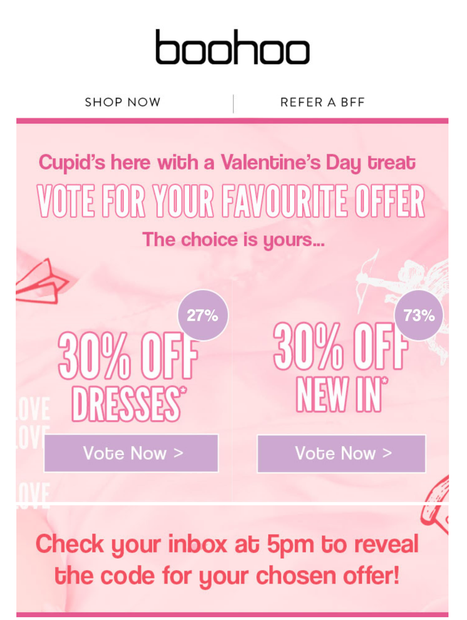 Boohoo Live Poll Example - Vote for the offer you'd like